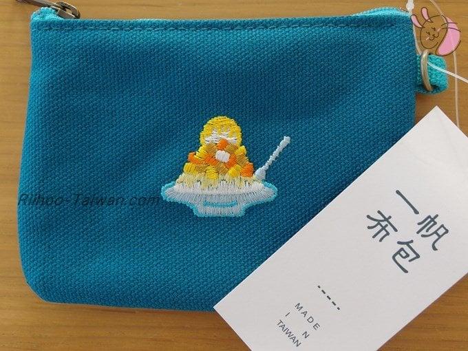 一帆布包-マンゴーかき氷の刺繍の小銭入れ