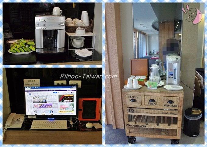 フォワードホテル台北(台北馥華商旅松江館) ロビー左側スペースにあるパソコン、ウォターサーバー、コーヒー