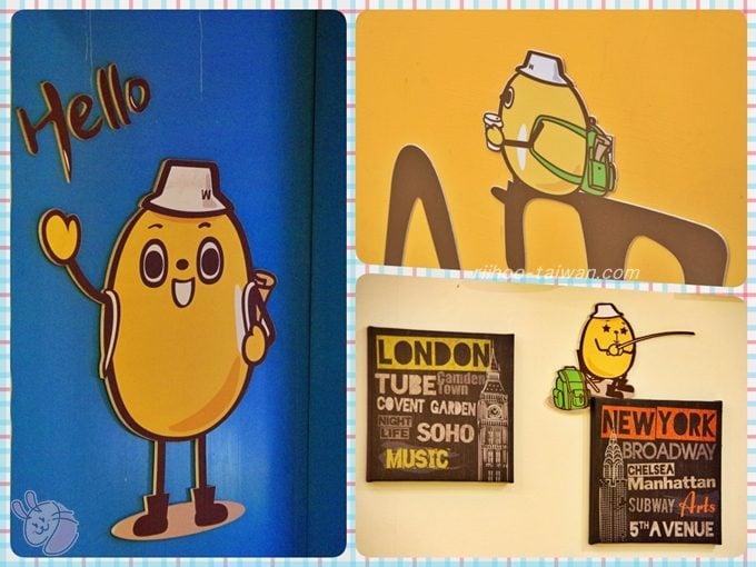 綠豆蒜啥咪 店内の壁に緑豆ちゃん