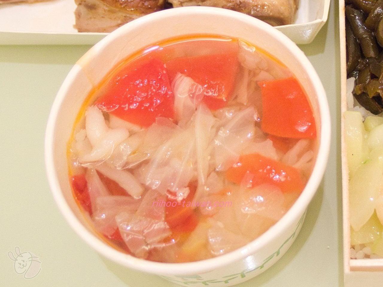 池上木片便當 (錦州街店)  蜜汁焼烤雞腿飯 無料のトマトスープ