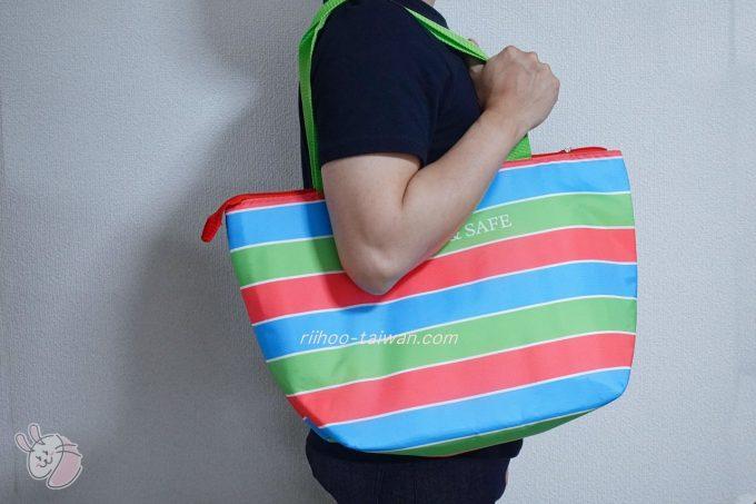 GREEN & SAFE 永豐餘生技 齊民東門市集 購入した環保保冷袋 ぴー助が肩から掛けてみた