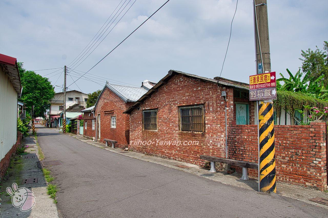 菁寮老街 レンガの壁の家々